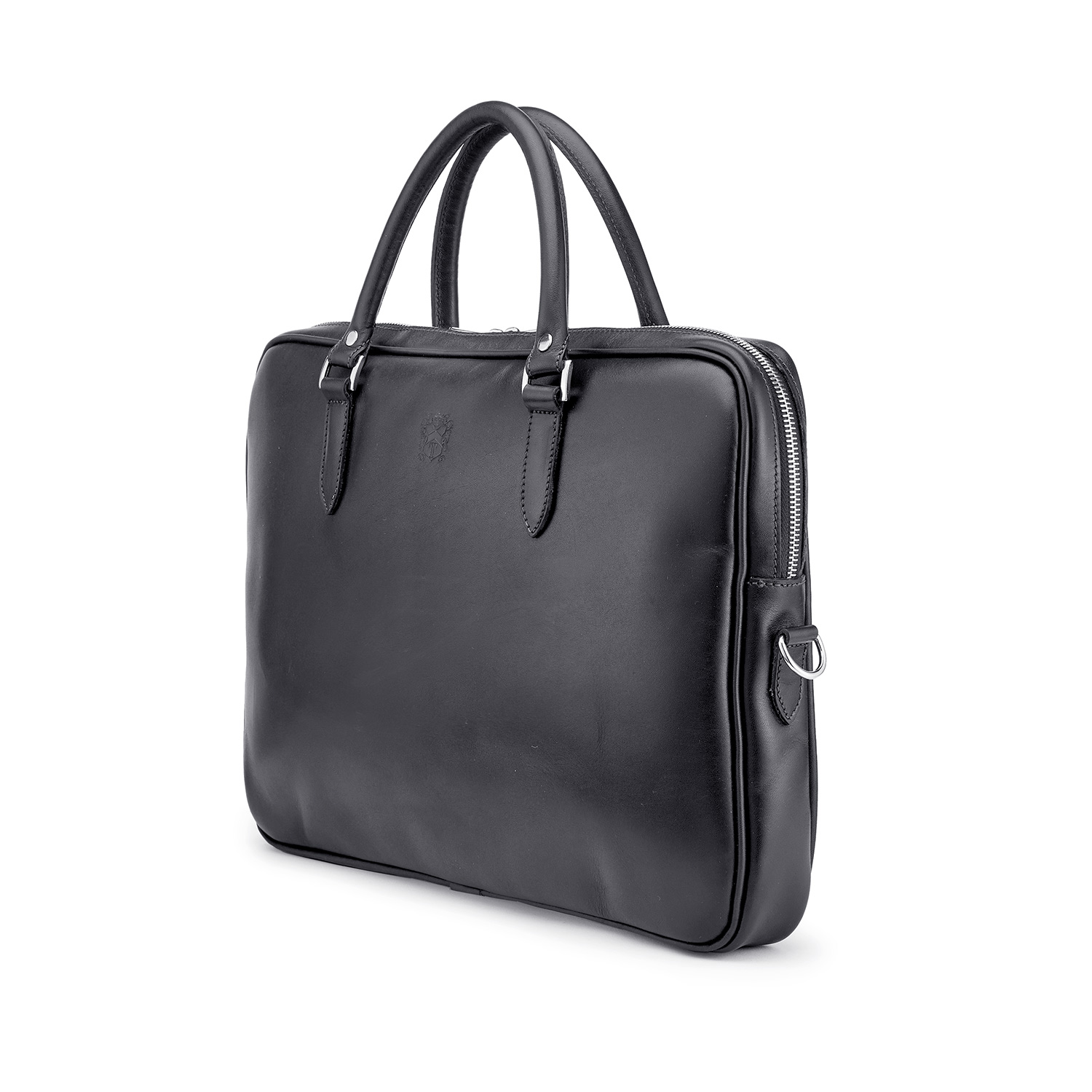 Tusting Piccadilly Leather Briefcase in Black Angle