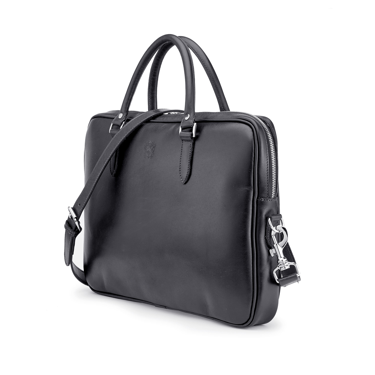 Tusting Piccadilly Leather Briefcase in Black Angle with Strap