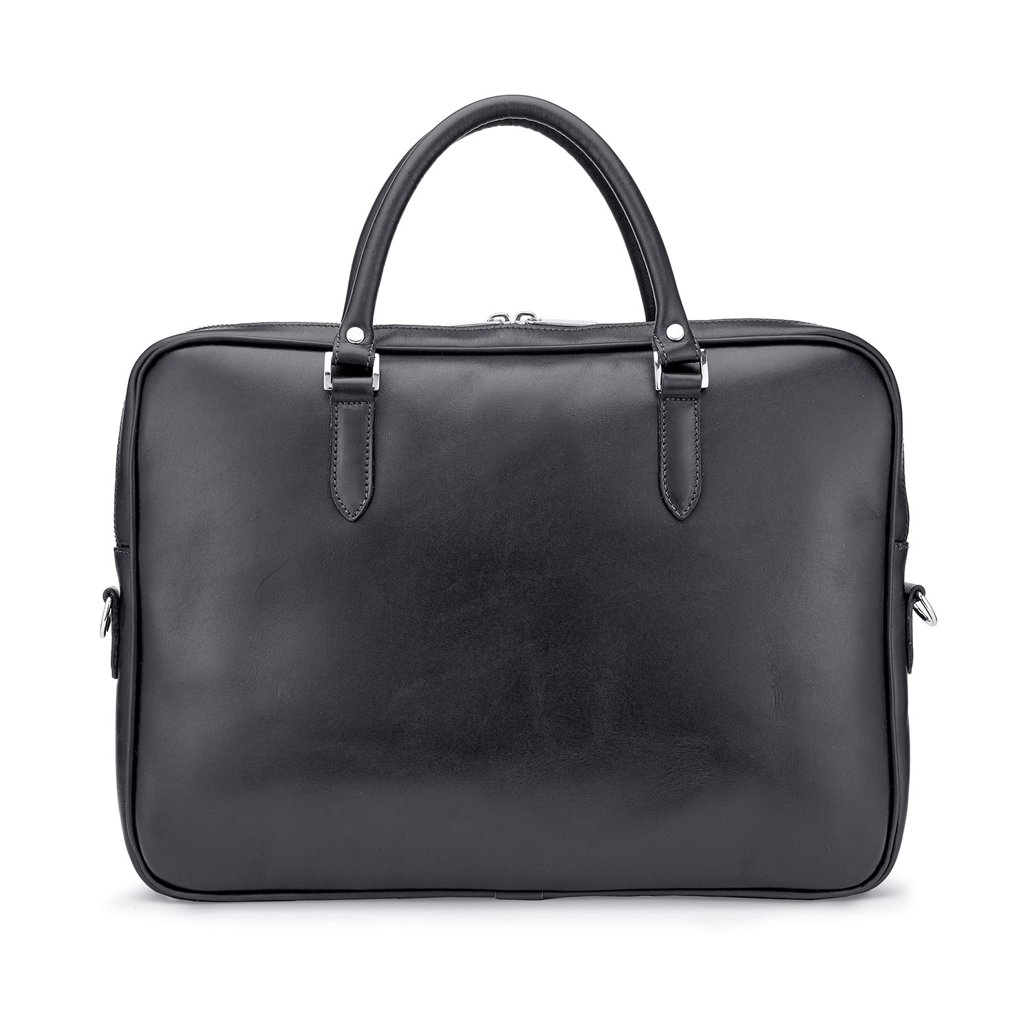 Tusting Piccadilly Leather Briefcase in Black Rear