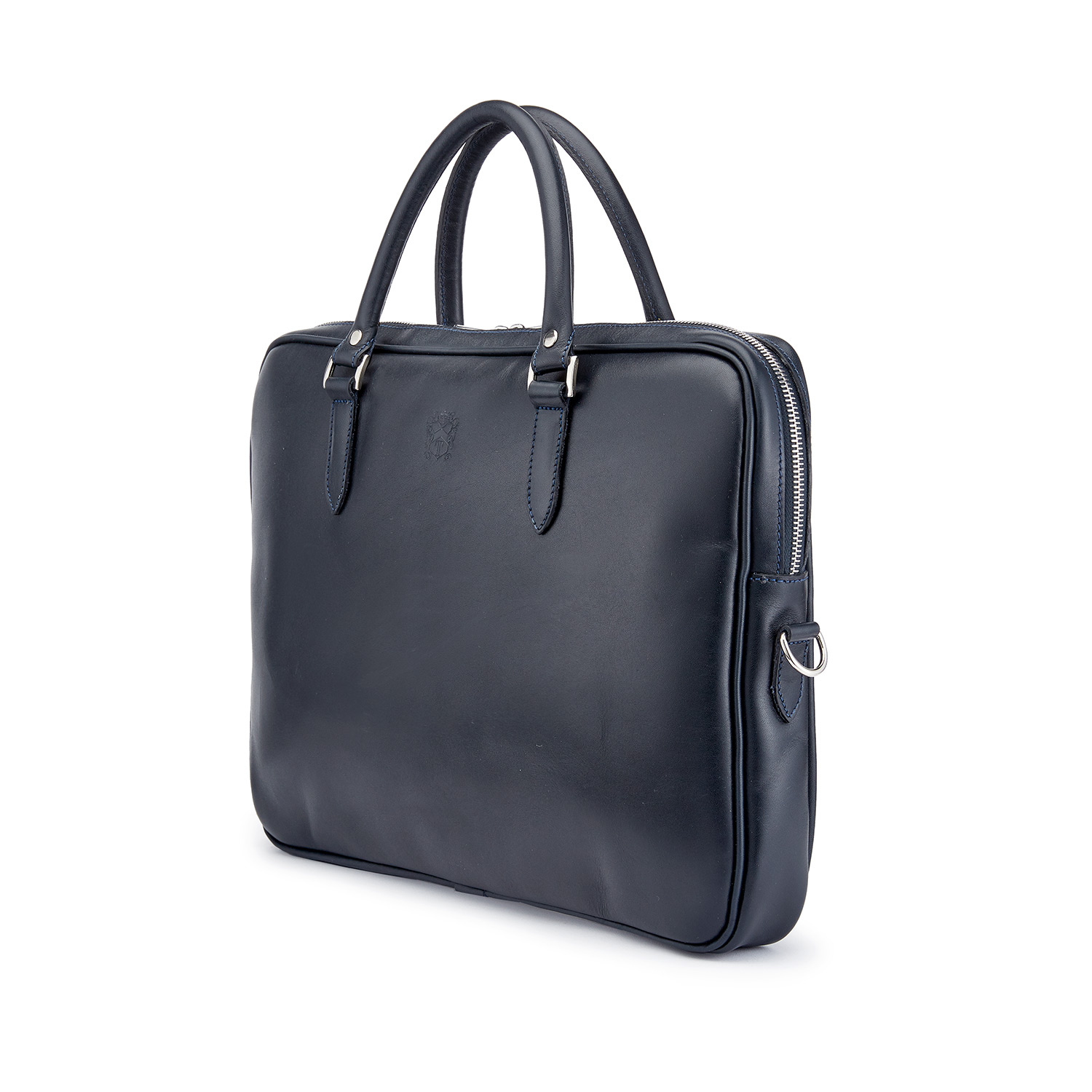 Tusting Piccadilly Leather Briefcase in Navy Angle
