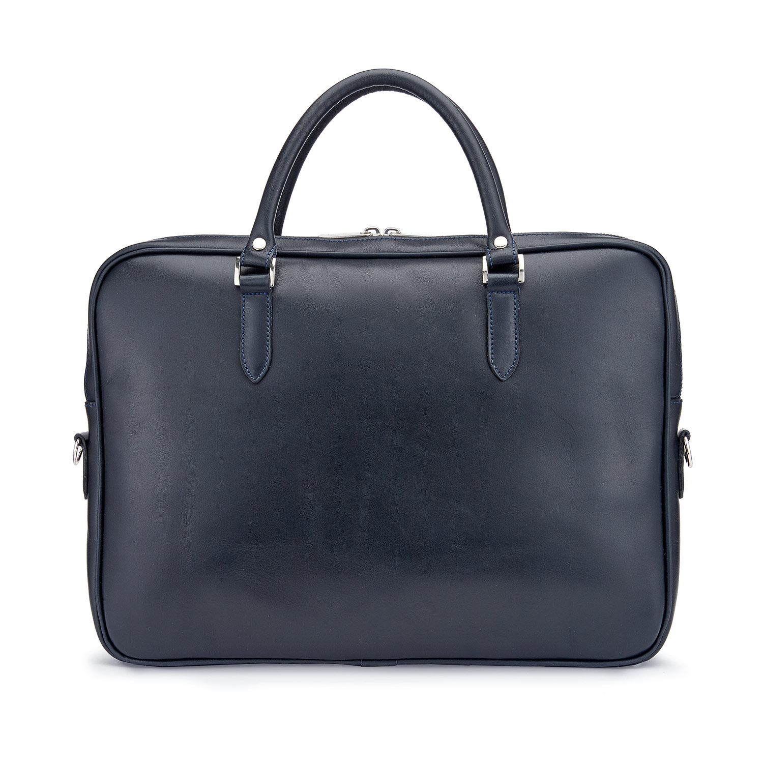 Tusting Piccadilly Leather Briefcase in Navy Front