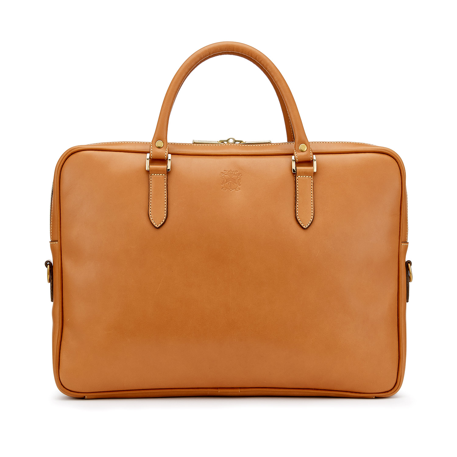 Tusting Piccadilly Leather Briefcase in Tan Front
