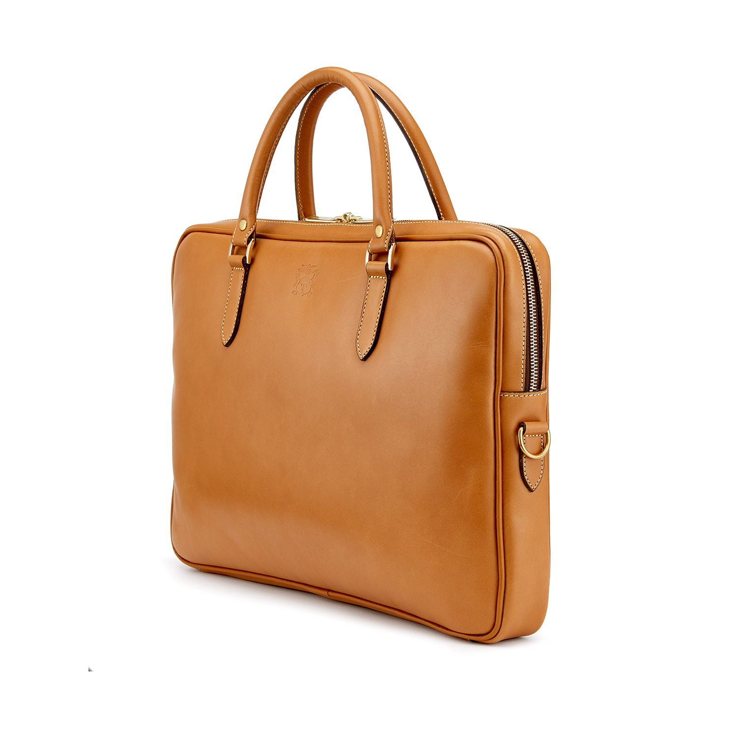 Tusting Piccadilly Briefcase in Tan Angle