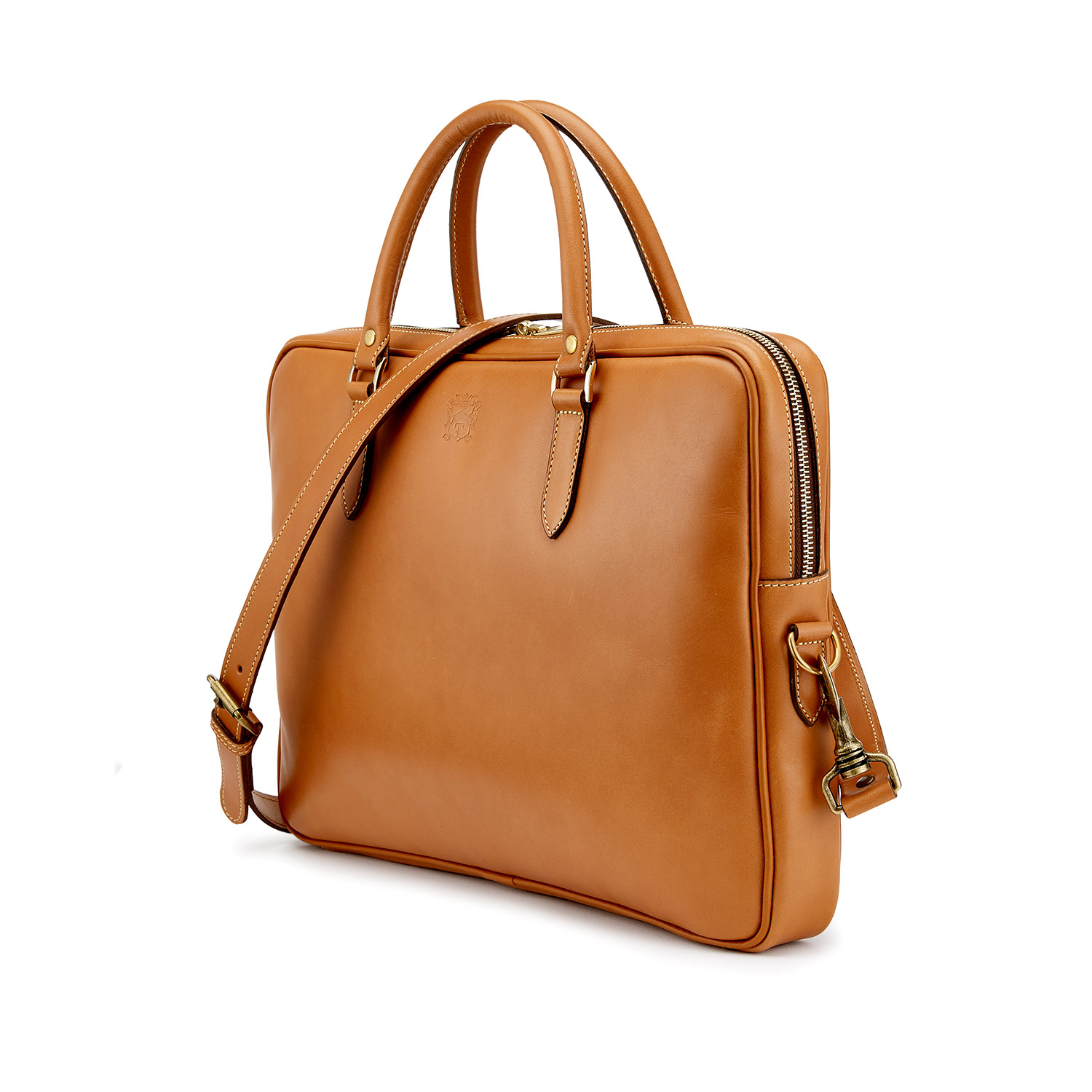 Tusting Piccadilly Leather Briefcase in Tan Angle with Strap