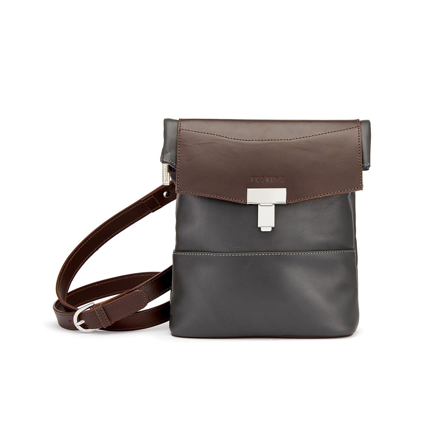 Tusting Ripon Reporter Leather Messenger Crossbody Bag in Pewter and Chocolate Brown
