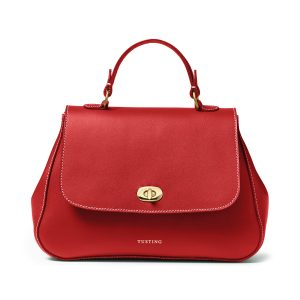Tusting AW20 Holly Top Handle Leather Handbag in Red Front